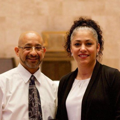 Husband Mike Lopez (left) with Pastor Yvonne Lopez (right)